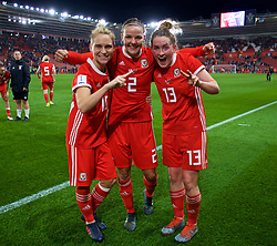 SOUTHAMPTON, ENGLAND - Friday, April 6, 2018: Wales' (L-R) Jessica Fishlock, Loren Dykes and Rachel Rowe celebrate after a hard fought goal-less draw against England during the FIFA Women's World Cup 2019 Qualifying Round Group 1 match between England and Wales at St. Mary's Stadium. (Pic by David Rawcliffe/Propaganda)