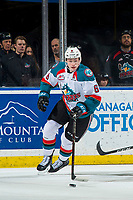KELOWNA, CANADA - JANUARY 25: Kaedan Korczak #6 of the Kelowna Rockets skates with the puck against the Victoria Royals  on January 25, 2019 at Prospera Place in Kelowna, British Columbia, Canada.  (Photo by Marissa Baecker/Shoot the Breeze)