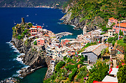 The town of Vernazza from the Sentiero Azzurro (Blue Trail), Cinque Terre, Liguria, Italy