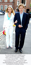 The HON.IMOGEN LLOYD WEBBER and her brother the HON.NICK LLOYD WEBBER children of Andrew Lloyd Webber, at a party in London on 6th July 2004.PWW 51