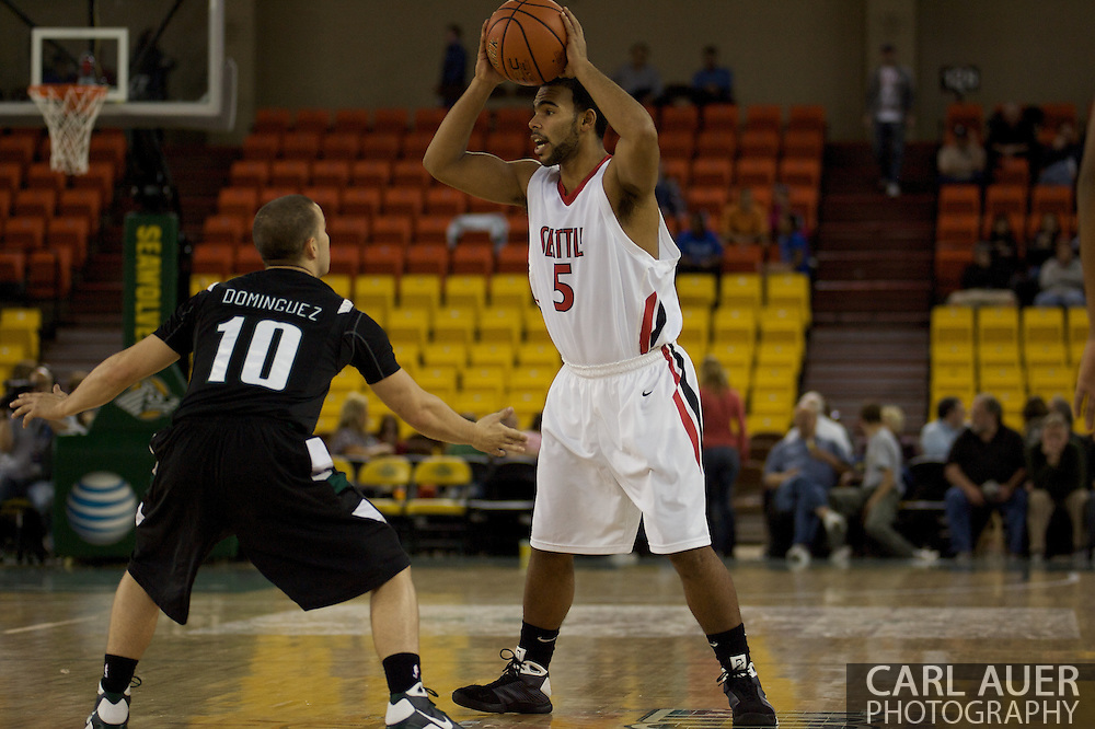 November 29th, 2008:  Anchorage, Alaska - Portland State's Jeremiah Dominguez (10) on defense as Seattle University's Shaun Burl (5) looks for a pass in the third place game on the final day of the Great Alaska Shootout.