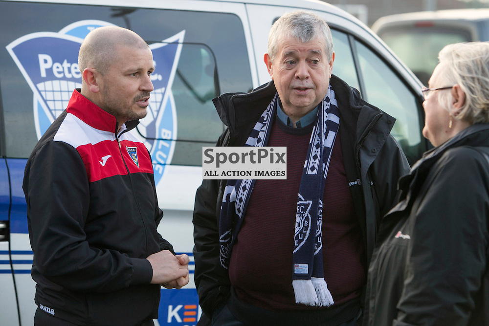 DAFC Physio Kenny Murray meets the fans whose life he saved Balmoor Stadium Peterhead 23 January 2016 <br /> <br /> Val Pearson (67) fell to the ground with chest pains in the car park at the stadium after arriving to cheer on his team against Dunfermline Athletic on Saturday 22nd August. His life was saved when the club&rsquo;s general manager, Nat Porter, and the Pars physiotherapist Kenny Murray rushed to his aid with the ground&rsquo;s defibrillator. On Saturday Val and his wife Irene were able to thank Kenny Murray in person for his skills which certainly were life saving.<br />   <br />  Full story at - http://dafc.co.uk/story.php?t=Pars_physio_hailed_a_hero&amp;ID=9050<br /> Val pictured in the blue Peterhead Scarf, Kenny in his DAFC ware<br /> <br /> (c) CRAIG BROWN | SportPix.org.uk