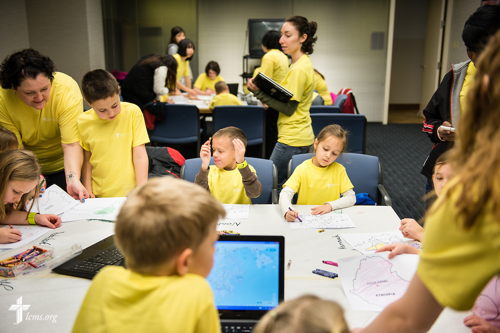 Children color different countries during missionary orientation activities at The Lutheran Church–Missouri Synod International Center on Wednesday, March 4, 2015,  in Kirkwood, Mo. LCMS Communications/Erik M. Lunsford