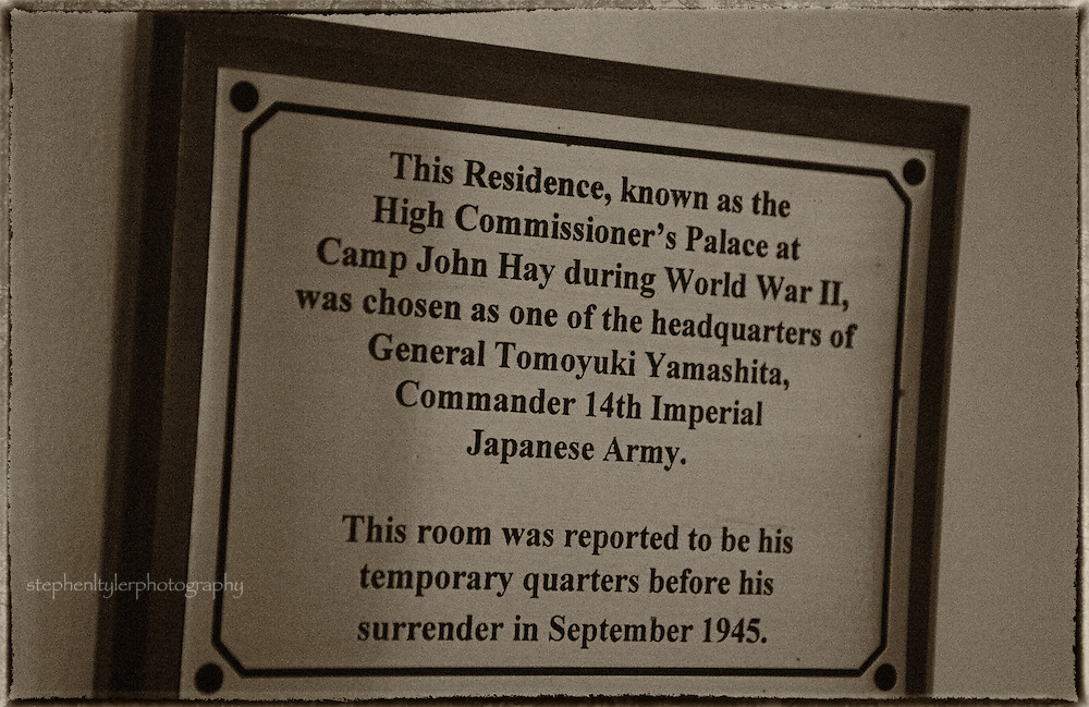 Room number 5 was the favorite room of the Japanese generals after the residence was taken over following the fall of Baguio in December, 1941, because its windows would allow them the best vantage point to address their troops lined up in the driveway below. There was also a hole cut into the floor of the adjacent dressing room for a fire pole which allowed quick access to the basement and into a maze of escape tunnels dug by the Japanese throughout Camp John Hay.