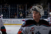 KELOWNA, BC - JANUARY 11: Cole Schwebius #31 of the Kelowna Rockets stands at the bench during warm up against the Kamloops Blazers at Prospera Place on January 11, 2020 in Kelowna, Canada. (Photo by Marissa Baecker/Shoot the Breeze)