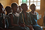 Children at the beginning of a class  at the King Fahed Islamic primary school in Rokupr Wosie village, Magbema chiefdom, Kambia district, Sierra Leone on April 5, 2017.