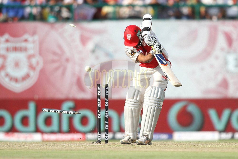Paul Valthaty of the Kings XI Punjab is clean bowled by James Hopes of the Delhi Daredevils during match 60 of the Indian Premier League ( IPL ) Season 4 between the Kings XI Punjab and the Delhi Daredevils held at the The HPCA Stadium in Dharamsala, Himachal Pradesh, India on the 15th May 2011..Photo by Shaun Roy/BCCI/SPORTZPICS