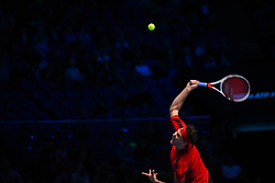 November 17, 2017 - London, England, United Kingdom - Dominic Thiem of Austria smashes in his Singles match against David Goffin of Belgium during day six of the Nitto ATP World Tour Finals at O2 Arena on November 17, 2017 in London, England. (Credit Image: © Alberto Pezzali/NurPhoto via ZUMA Press)