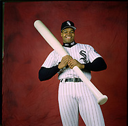 CHICAGO - CIRCA 1994: Baseball Hall of Fame inductee Frank Thomas of the Chicago White Sox poses for a portrait prior to an MLB game at Comiskey Park in Chicago, Illinois. (Photo by Ron Vesely)  Subject:   Frank Thomas