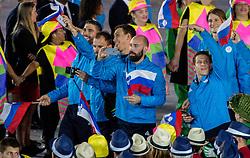 05-08-2016 BRA: Olympic Games day -1, Rio de Janeiro<br /> Openingsceremonie van de Olympische Spelen in Rio / dans, muziek, show en eenboodschap aan de wereld - Slovenie Slovenia / Blaz Janc, Uros Zorman, Darko Cingesar, Vid Kavticnik, Simon Razgor of Slovenia