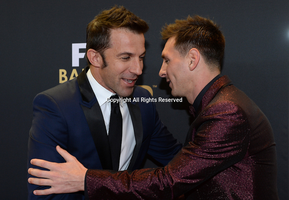 12.01.2015. Zurich, Switzerland.  Former soccer player Alessandro Del Piero (L) of Italy and FC Barcelona's Lionel Messi, one of the nominees for the FIFA Ballon d'Or 2014 award, arrive at the FIFA Ballon d'Or Gala held at the Kongresshaus in Zurich, Switzerland.