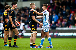 Jack Willis of Wasps and Cameron Redpath of Sale Sharks shake hands at full time - Mandatory by-line: Robbie Stephenson/JMP - 05/10/2019 - RUGBY - AJ Bell Stadium - Manchester, England - Sale Sharks v Wasps - Premiership Rugby Cup
