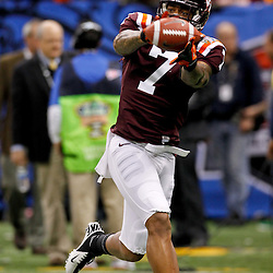 January 3, 2012; New Orleans, LA, USA; Virginia Tech Hokies wide receiver Marcus Davis (7) against the Michigan Wolverines prior to kickoff of the Sugar Bowl at the Mercedes-Benz Superdome.  Mandatory Credit: Derick E. Hingle-US PRESSWIRE