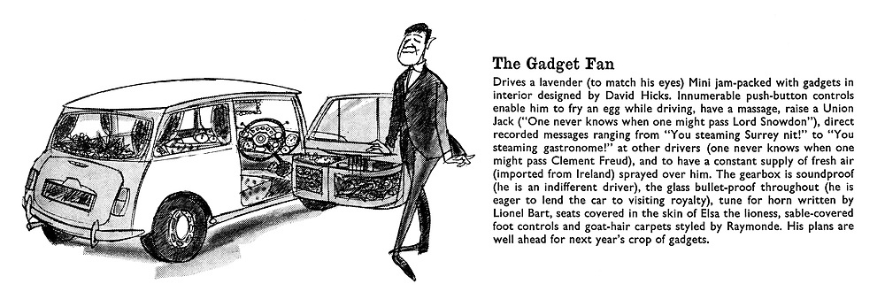Prestige Motoring. For those who wish to avoid the conformity of running a Rolls. The Gadget Fan.