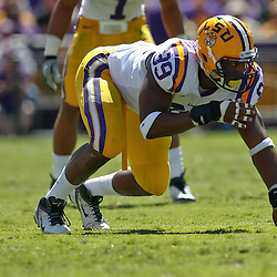 October 1, 2011; Baton Rouge, LA, USA;  LSU Tigers defensive end Sam Montgomery (99) against the Kentucky Wildcats during the second quarter at Tiger Stadium.  Mandatory Credit: Derick E. Hingle-US PRESSWIRE / © Derick E. Hingle 2011