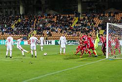October 5, 2017 - Yerevan, Armenia - Poland's forward Robert Lewandowski goal free kick, during the FIFA World Cup 2018 qualification football match between Armenia and Poland in Yerevan on October 5, 2017. (Credit Image: © Foto Olimpik/NurPhoto via ZUMA Press)