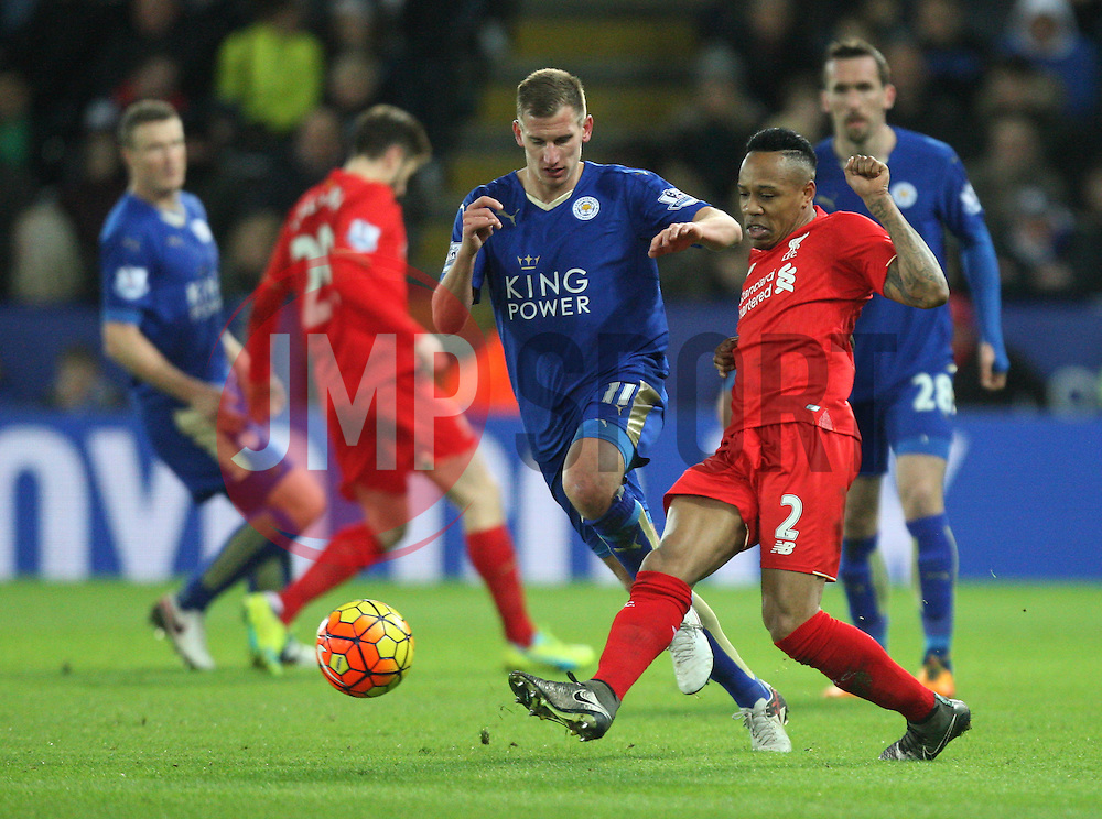 Marc Albrighton of Leicester City (L) and Nathaniel Clyne of Liverpool in action - Mandatory byline: Jack Phillips/JMP - 02/02/2016 - FOOTBALL - King Power Stadium - Leicester, England - Leicester City v Liverpool - Barclays Premier League