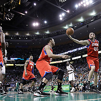 12 May 2012: Philadelphia Sixers center Spencer Hawes (00) grabs a rebound during the Boston Celtics 92-91 victory over the Philadelphia Sixers, in Game 1 of the Eastern Conference semifinals playoff series, at the TD Banknorth Garden, Boston, Massachusetts, USA.