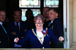 Mayor of Burnley Elizabeth Monk greets the fans - Mandatory by-line: Matt McNulty/JMP - 09/05/2016 - FOOTBALL - Burnley Town Hall - Burnley, England - Burnley FC Championship Trophy Presentation