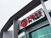 September 29, 2015: Haas F1 building and logo.