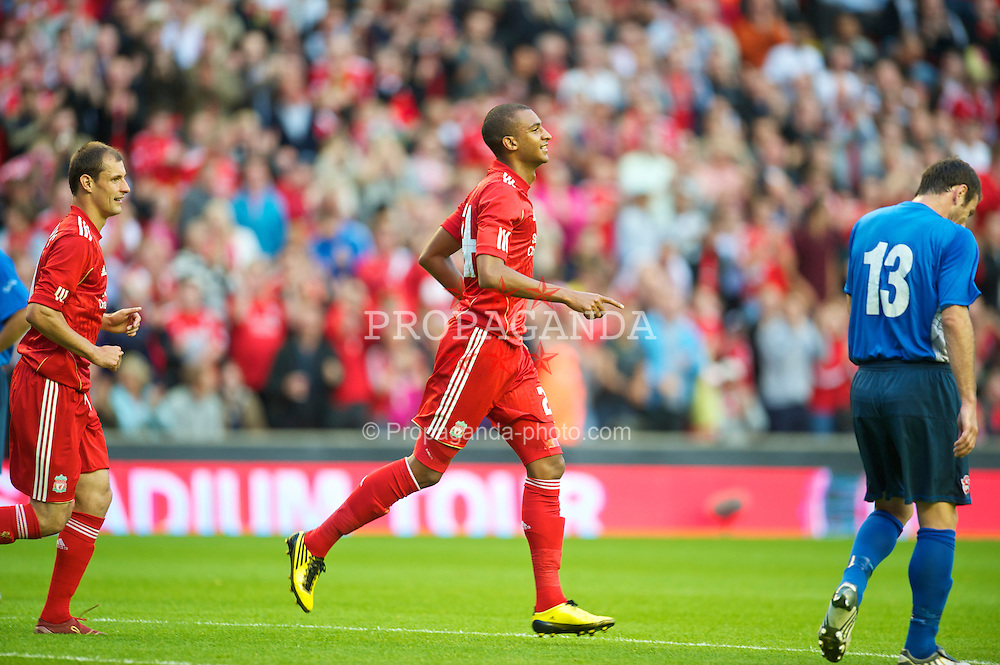LIVERPOOL, ENGLAND - Thursday, August 5, 2010: Liverpool's David Ngog celebrates scoring the opening goal against FK Rabotnicki during the UEFA Europa League 3rd Qualifying Round 2nd Leg match at Anfield. (Pic by: David Rawcliffe/Propaganda)
