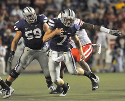 Oct 07, 2010; Manhattan, KS, USA; Kansas State Wildcats quarterback Collin Klein (7) runs for yardage in the second half against the Nebraska Cornhuskers at Bill Snyder Family Stadium. Nebraska won 48-13. Mandatory Credit: Denny Medley-US PRESSWIRE