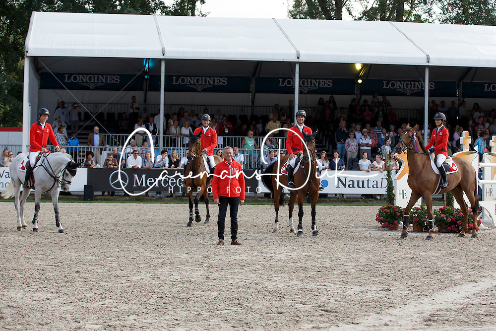 Team Switzerland, Martin Fuchs, Paul Estermann, Andy Kistler, (chef d'equipe), Stve Guerdat, Janica Sprunger <br /> Furusiyya FEI Nations Cup presented by Longines<br /> CHIO Rotterdam 2016<br /> © Hippo Foto - Dirk Caremans<br /> 24/06/16