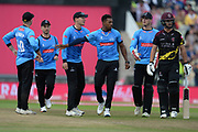 Chris Jordan and Sussex celebrate the wicket of Lewis Gregory during the Vitality T20 Finals Day semi final 2018 match between Sussex Sharks and Somerset County Cricket Club at Edgbaston, Birmingham, United Kingdom on 15 September 2018.