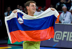 Miroslav Cerar, Prime Minister of Slovenia celebrating at Trophy ceremony after winning during the Final basketball match between National Teams  Slovenia and Serbia at Day 18 of the FIBA EuroBasket 2017 when Slovenia became European Champions 2017, at Sinan Erdem Dome in Istanbul, Turkey on September 17, 2017. Photo by Vid Ponikvar / Sportida