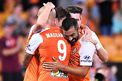 January 18, 2018 - Brisbane, QUEENSLAND, AUSTRALIA - Brisbane Roar players celebrate a Brett Holman goal during the round seventeen Hyundai A-League match between the Brisbane Roar and the Perth Glory at Suncorp Stadium on January 18, 2018 in Brisbane, Australia. (Credit Image: © Albert Perez via ZUMA Wire)