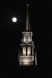 Trinity Church with rising full moon, Newport, Rhode Island, United States of America