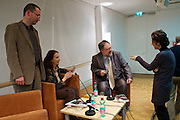 "Vienna, Hauptbuecherei. Presentation of the book ""Aufmarsch: Die rechte Gefahr aus Osteuropa"" by  Gregor Mayer (r.) and Bernhard Odehnal (l.). Discussion leader Elisa Vass (2nd from l).  Jessica Beer (r.)"