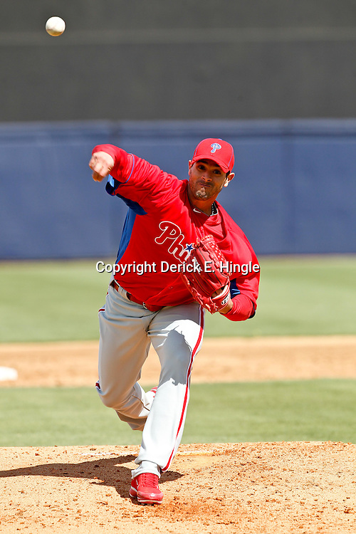 March 4, 2012; Tampa Bay, FL, USA; Philadelphia Phillies starting pitcher Joel Pineiro (39) against the New York Yankees during spring training game at George M. Steinbrenner Field. Mandatory Credit: Derick E. Hingle-US PRESSWIRE