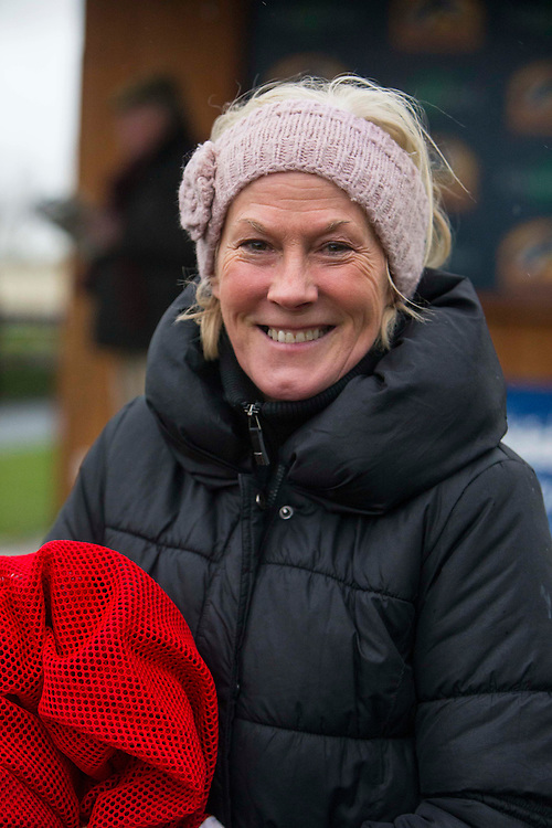 Fairyhouse Racing, 1st January 2016<br /> Denise Foster pictured before the start of the 4th Race - ,Cavalor Premium Feed Supplements and Care Handicap Hurdle at Fairyhouse<br /> Photo: David Mullen /www.cyberimages.net / 2016