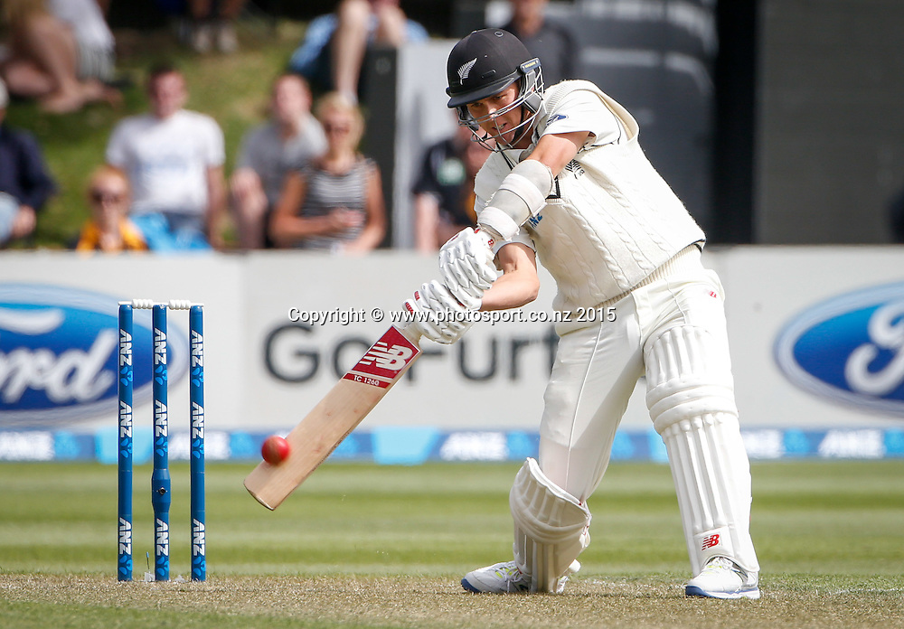 Trent Boult plays a shot.  First day, second test, ANZ Cricket Test series, New Zealand Black Caps v Sri Lanka, 03 January 2015, Basin Reserve, Wellington, New Zealand. Photo: John Cowpland / www.photosport.co.nz