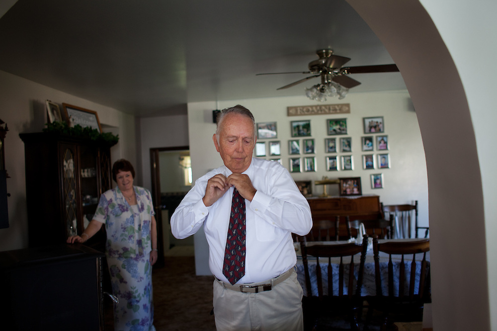 From left, Virginia Hatch Romney watches her husband Kent Romney get ready for church service in Colonia Juarez, Mexico in July 2011. United States Presidential candidate Mitt Romney's family migrated to Mexico over 100 years ago after being granted asylum from Mexican President Porfirio Diaz after they had been pursued by the U.S. authorities for polygamy...(Romney is currently running for the Republican nomination.)