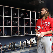 NEW YORK, NEW YORK - July 10: Jayson Werth #28 of the Washington Nationals  in the dugout preparing to bat during the Washington Nationals Vs New York Mets regular season MLB game at Citi Field on July 10, 2016 in New York City. (Photo by Tim Clayton/Corbis via Getty Images)