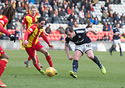 17th February 2018, Firhill Stadium, Glasgow, Scotland; Scottish Premier League Football, Partick Thistle versus Dundee; Paul McGowan of Dundee and Ryan Edwards of Partick Thistle