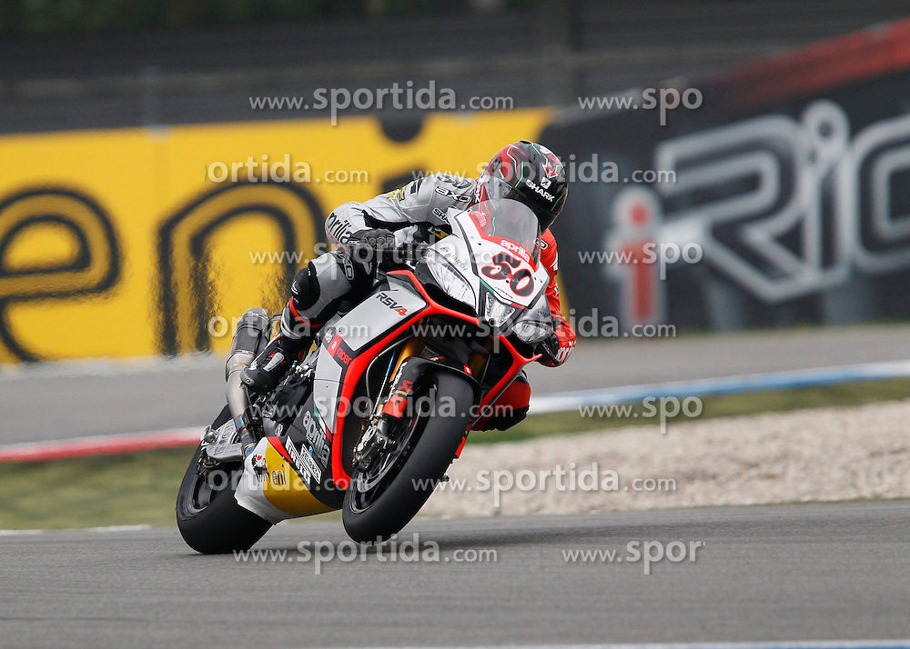 27.04.2014, TT Assen Circuit, Assen, NED, FIM, Superbike World Championship, Assen, Warm Up, Rennen, im Bild 50 Sylvain Guintoli // during the Warm up and Race of Round 3 - Assen FIM Superbike World Championship at the TT Assen Circuit in Assen, Netherlands on 2014/04/27. EXPA Pictures &copy; 2014, PhotoCredit: EXPA/ Eibner-Pressefoto/ Stiefel<br /> <br /> *****ATTENTION - OUT of GER*****