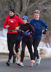 Gary Allen runs from Maine to Washington DC, Gary Allen runs with Joan Samuelson on McKeen Street in Brunswick early morning, Bob Dunfey also in group, Sarh Emerson hidden