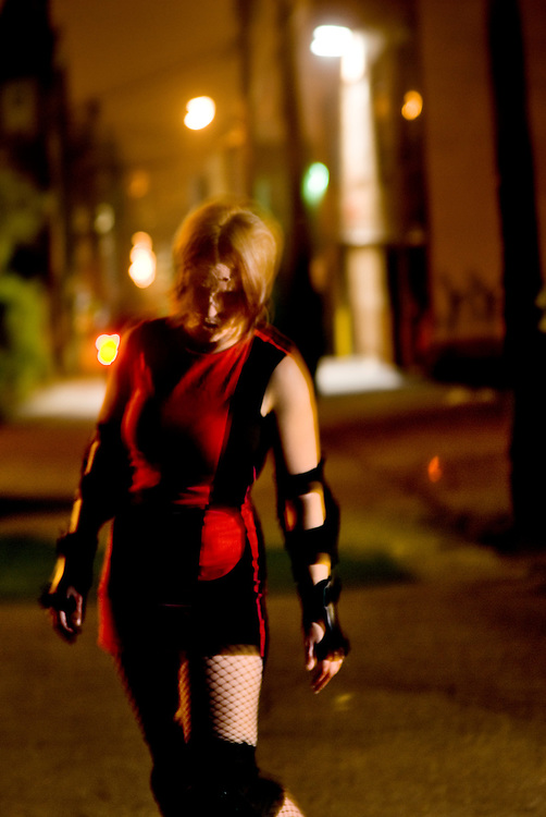 Still promo photos from a movie called Roller Derby Zombies -- which was never made.