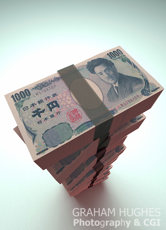 Large pile of Japanese Yen Bank Notes