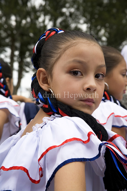 Girl in Traditional Dress during celebrations of the Day of San Rafael (17 August), San Rafael de Oreamuno, Cartago, Costa Rica.<br />