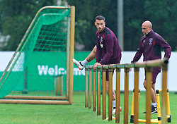 25.07.2017, Trainingsplatz TuS Bothel, Bothel, GER, Trainingslager, West Ham United, im Bild Marco Arnautovic steigt über ein Geländer // during a trainingsession at the trainingscamp of the English Premier League Football Club West Ham United at the Trainingsplatz TuS Bothel in Bothel, Germany on 2017/07/25. EXPA Pictures © 2017, PhotoCredit: EXPA/ Andreas Gumz<br /> <br /> *****ATTENTION - OUT of GER*****