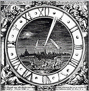 Illustration showing a view of Augsburg, Germany with the comets of 1680, 1682, and 1683 in the sky
