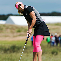 Picture by Christian Cooksey/CookseyPix.com . Standard repro rates apply. <br /> <br /> Aberdeen Asset Management Ladies Scottish Open at Dundonald Links, Irvine Ayrshire. <br /> <br /> Scotland's  Carly Booth lines up a putt on the tenth green.