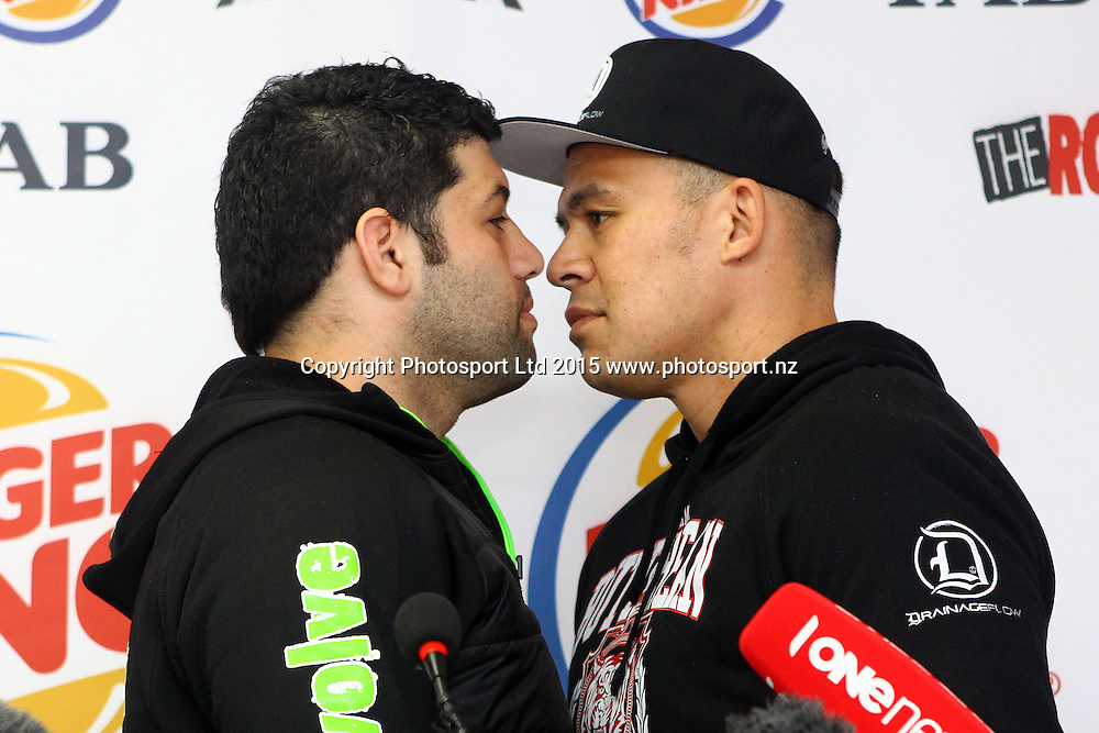 Kaleni Taetuli (L) and 'Brown Buttabean' Dave Letele, Burger King, Road to the Title press conference ahead of Thursdays boxing event. Burger king Lincoln Rd, Auckland. 13 October 2015. Copyright Photo: William Booth / www.photosport.nz