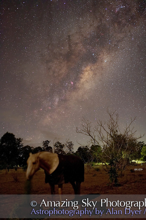 Pedro the horse and the Dark Horse in the Milky Way. Taken with Canon 5D camera and Canon 35mm f1/4 lens at f/2 for 15s at ISO 1600.