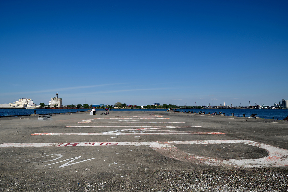 Giant graffiti that spells TRUMP is painted on the surface Pier 60 on the Delaware waterfront, near Tasker Street, in South Philadelphia, PA, on May 12, 2018.