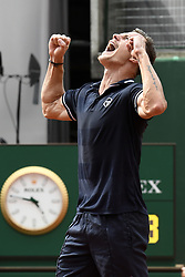 GENEVA, May 27, 2018  Marton Fucsovics of Hungary celebrates after winning the men's final against Peter Gojowczyk of Germany at the 2018 Geneva Open ATP 250 Tennis tournament in Geneva, Switzerland, on May 26. Marton Fucsovics won 2-0. (Credit Image: © Alain Grosclaude/Xinhua via ZUMA Wire)